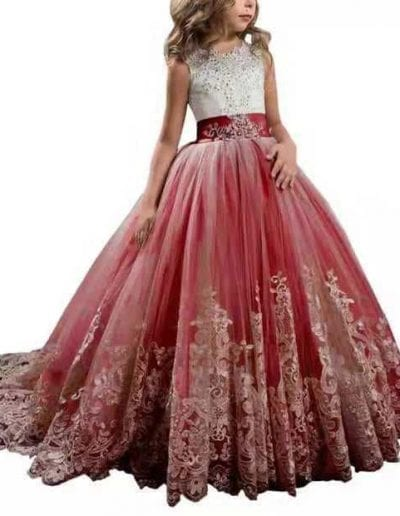 Red lace bridesmaid flower girl dress
