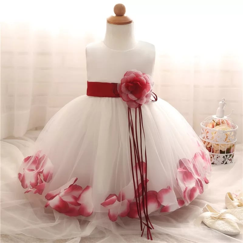 White Bridesmaid Flower Girl Dress with Red Petals