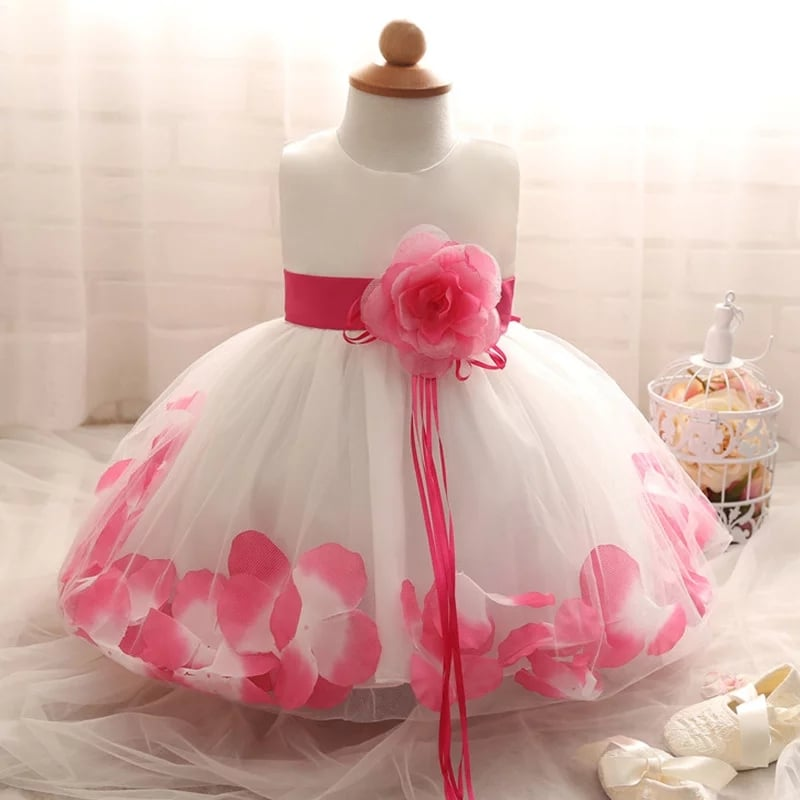 White Bridesmaid Flower Girl Dress with Pink Petals