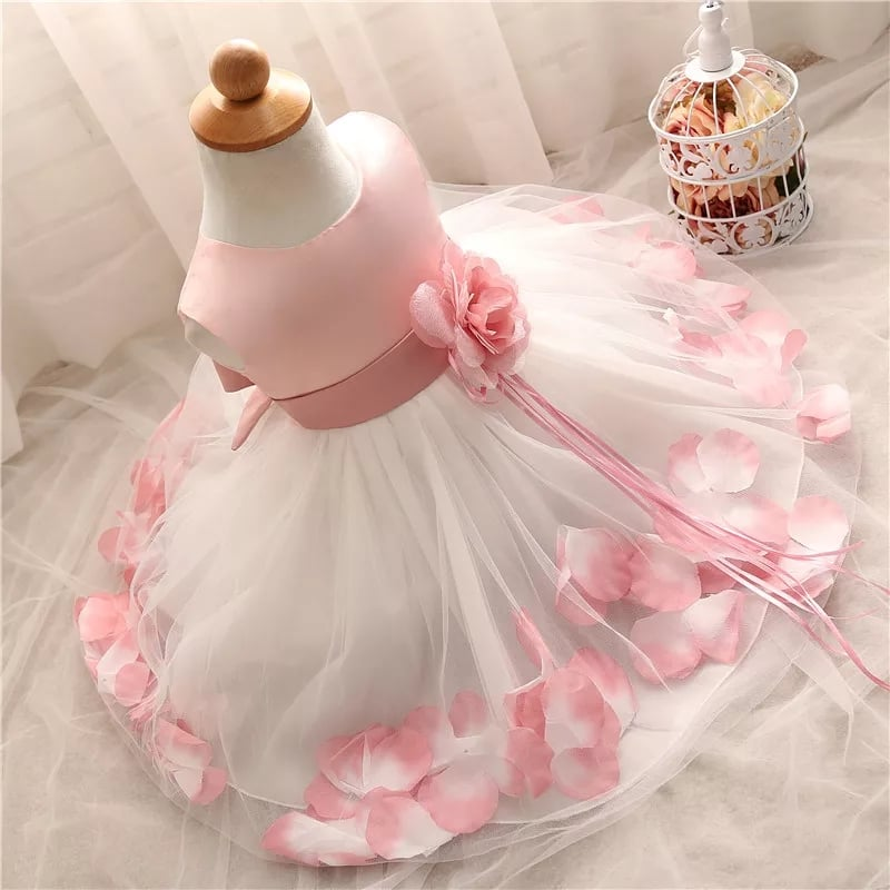 White Bridesmaid Flower Girl Dress with Baby Pink Petals