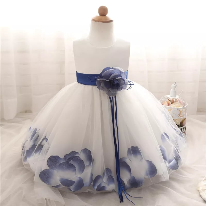 White Bridesmaid Flower Girl Dress with Blue Petals