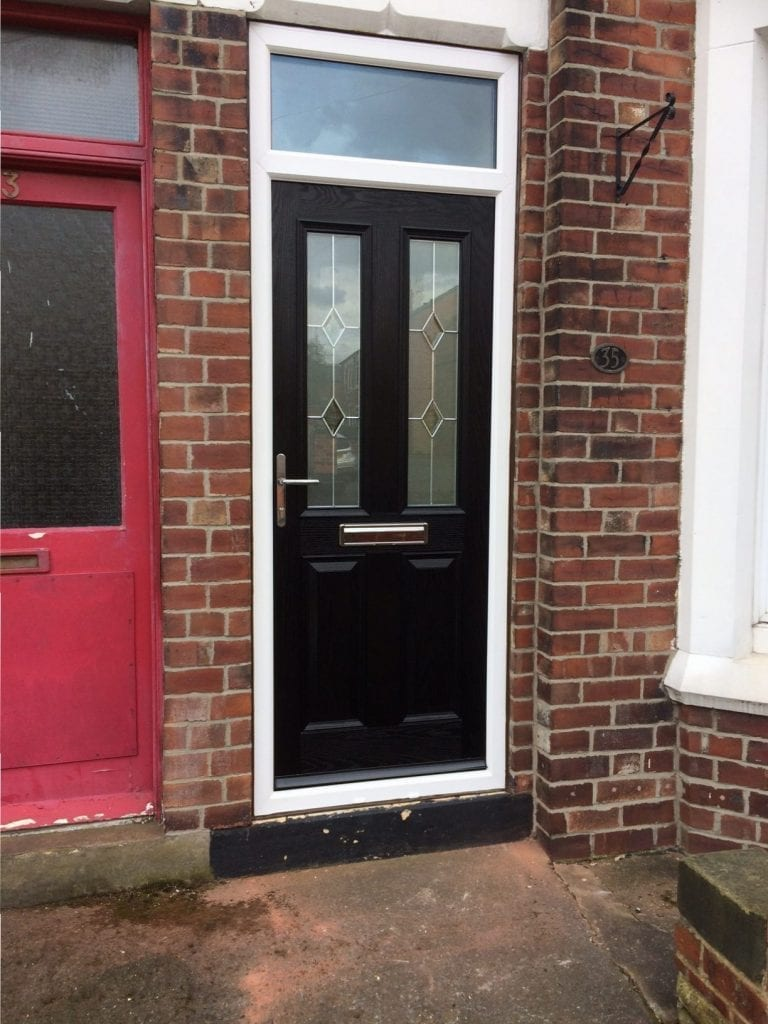 Giraffe Windows and Doors Front Terraced House Black Door Modern double glazing